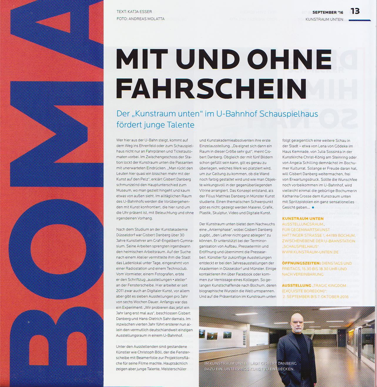 Kunstraum-unten im Stadtmagazin BOMA