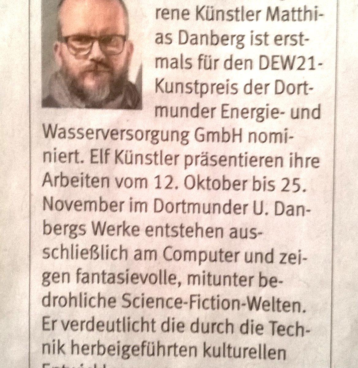 Matthias Danberg nominiert für DEW21-Kunstpreis