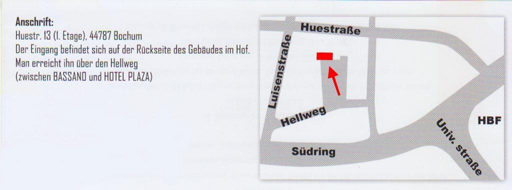 Anschrift und Lageplan der Galerie 13 / bkb